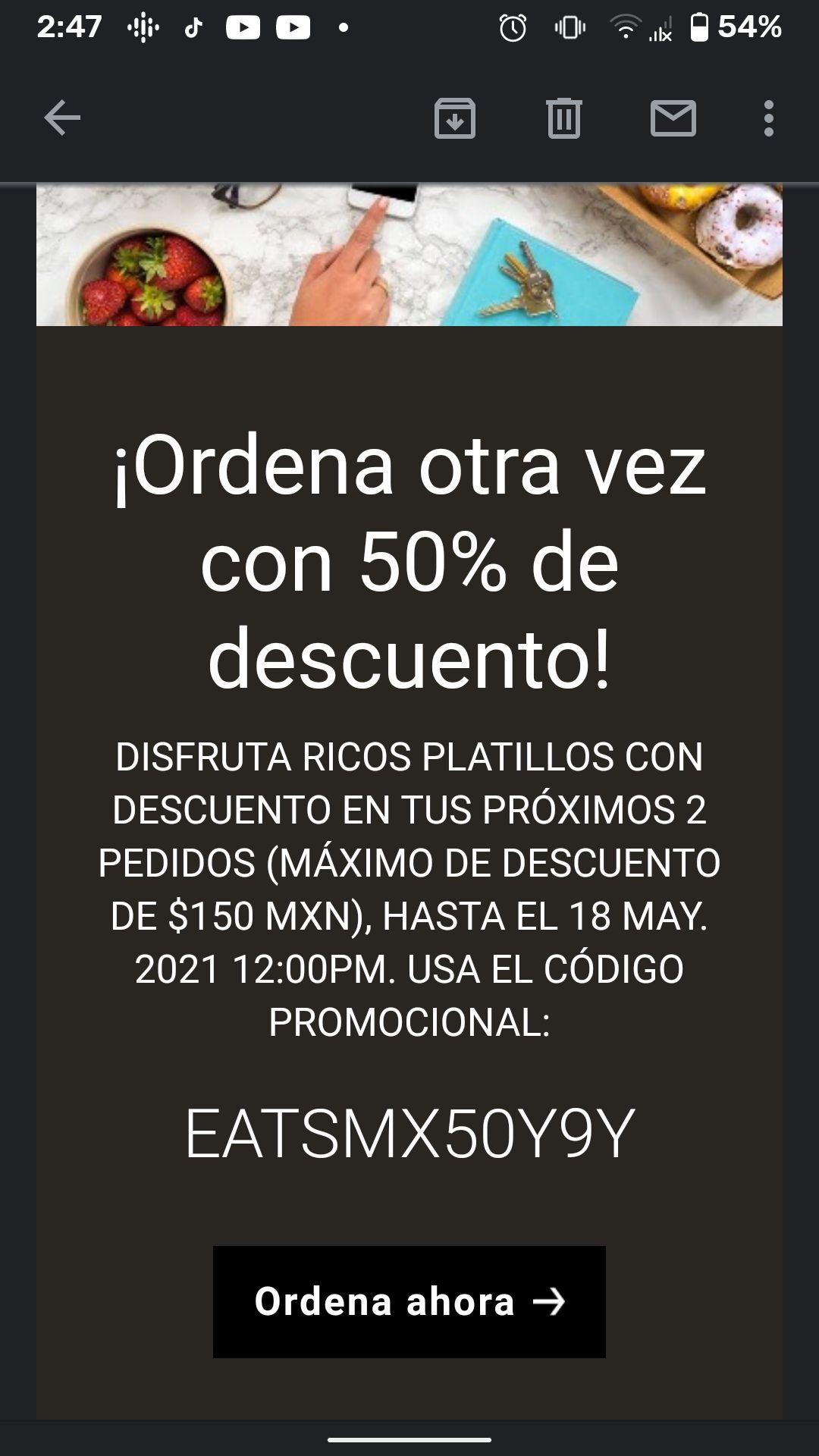 Uber Eats: -50% (Max 150$)