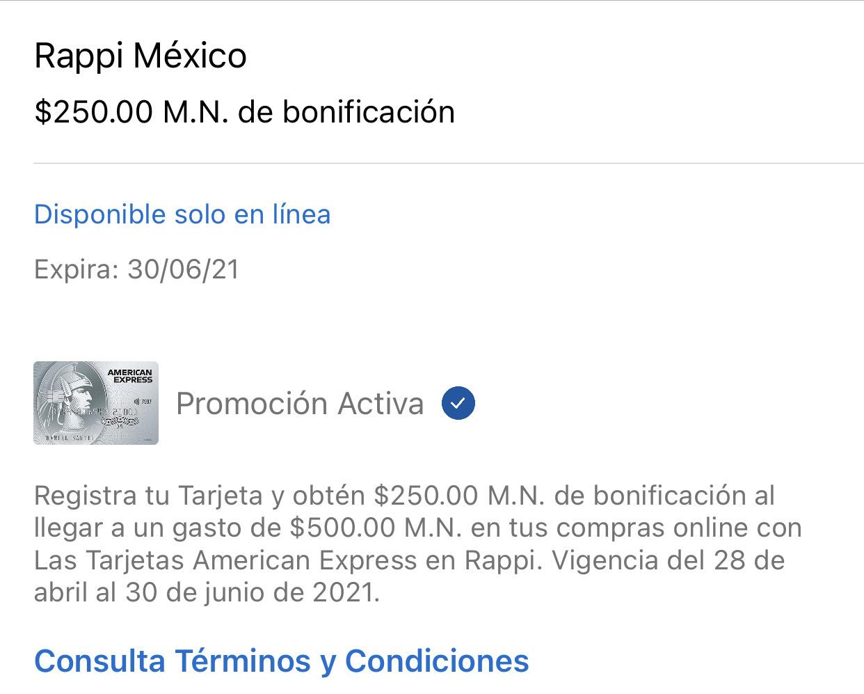 Amex: $250 de bonificación al gastar $500 en Rappi