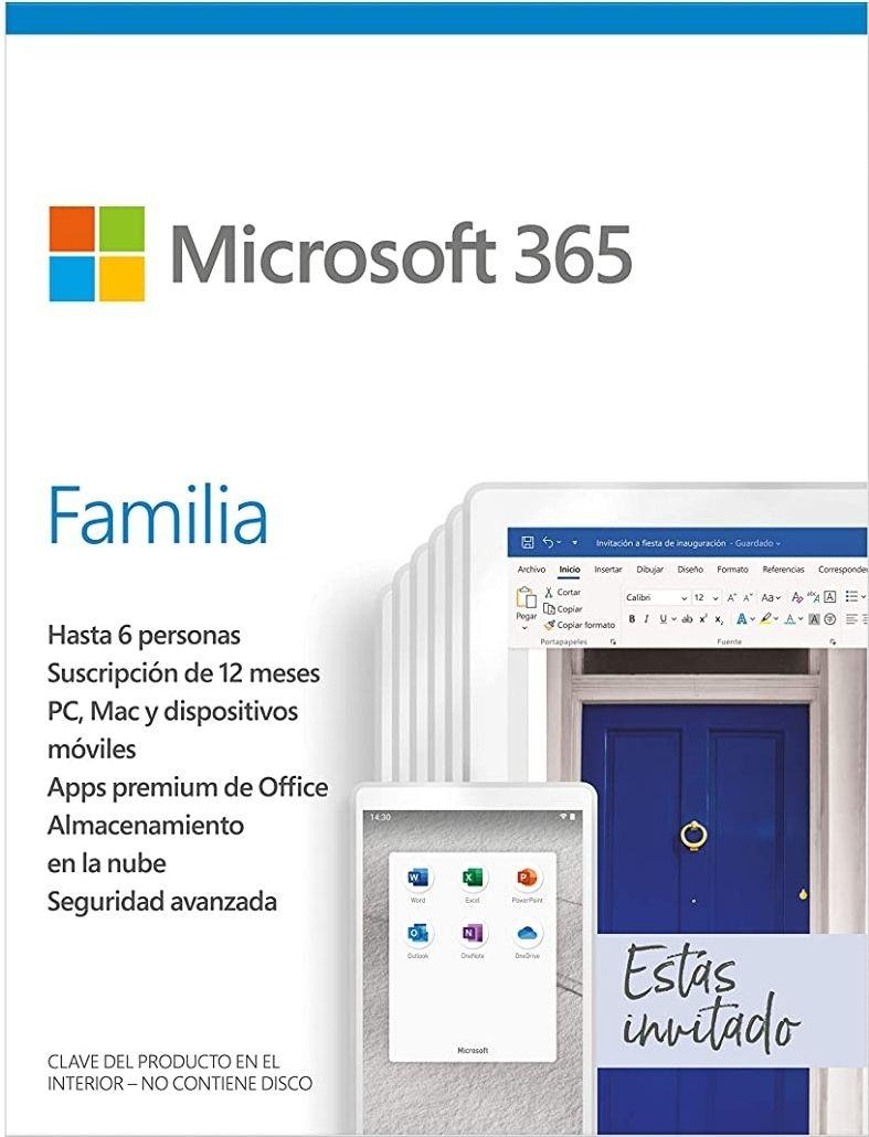 Amazon: Microsoft 365 Familia | Suscripción anual | Para 6 PCs o Macs, 6 tabletas incluyendo iPad, Android, o Windows, además de 6 teléfonos