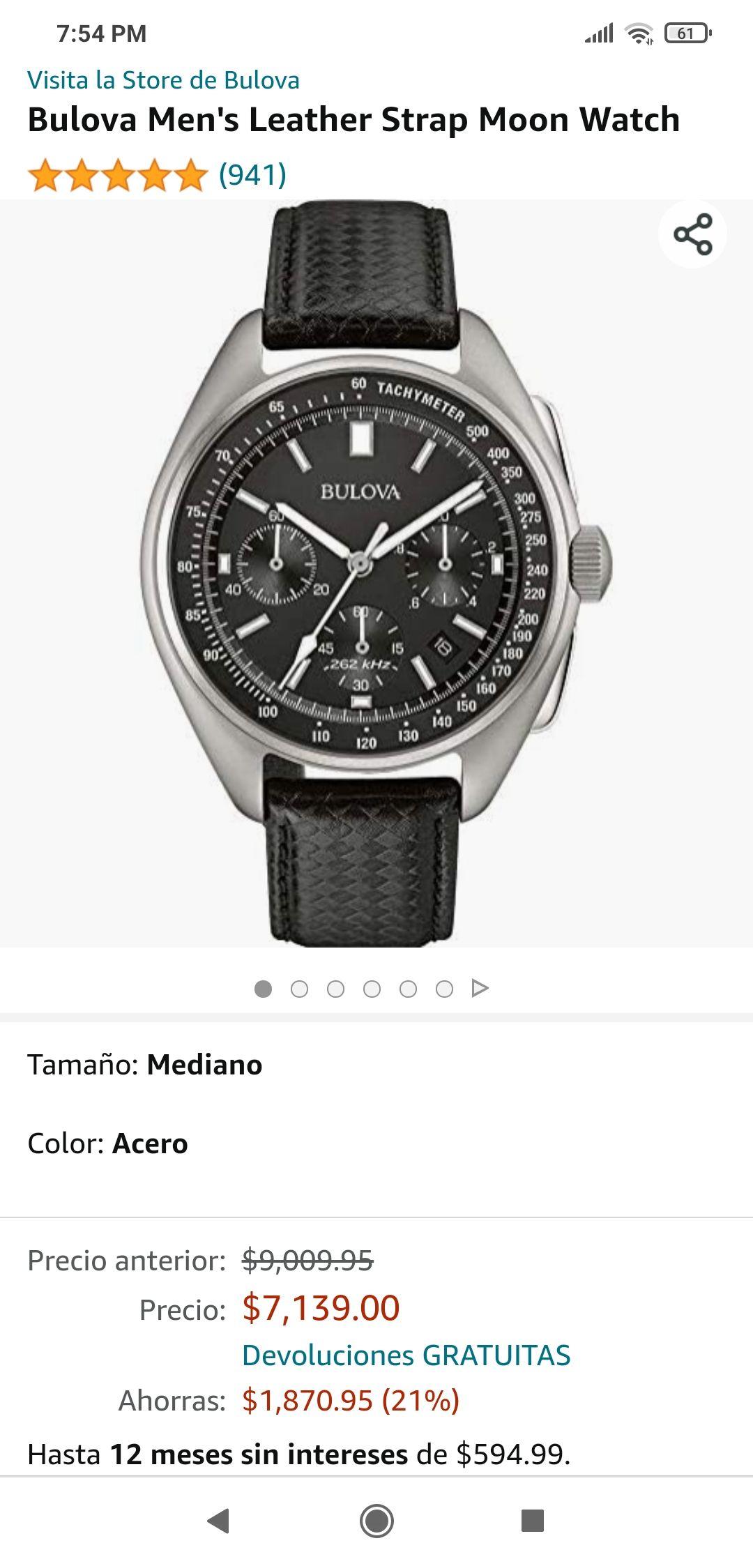 Amazon: Reloj Bulova Lunar Pilot 96B251