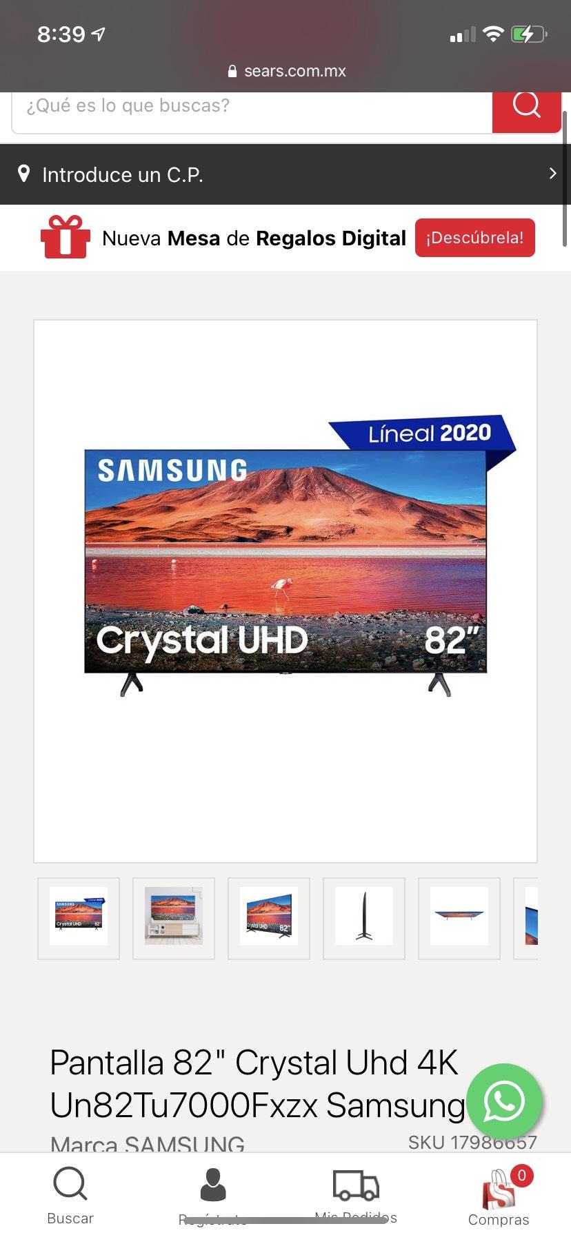"Sears: TV SAMSUNG 82"" PULGADAS: UN82TU7000FXZX"