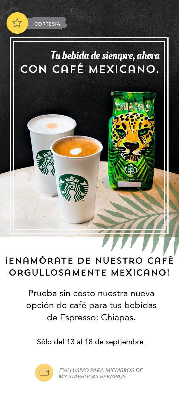 Starbucks: café espresso Chiapas de cortesía para miembros de Starbucks Rewards