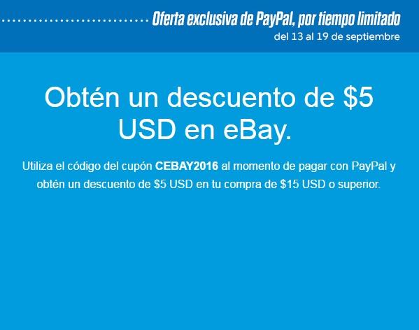 eBay: descuento de $5 USD en compras mayores de $15 pagando con PayPal -solo cuentas seleccionadas-