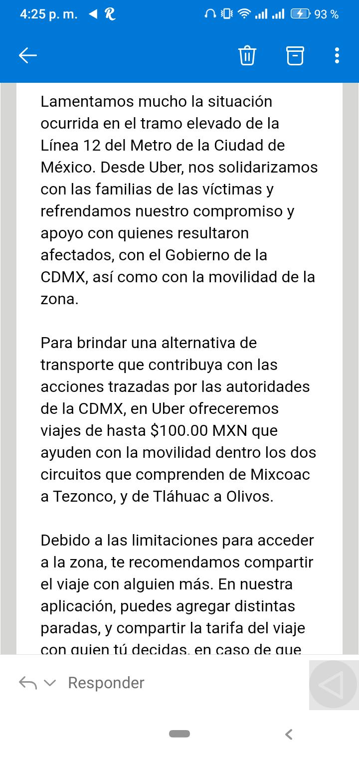 Uber CUPON DE 100 PESOS PARA VIAJAR EN ZONA AFECTADA METRO L12CDMX