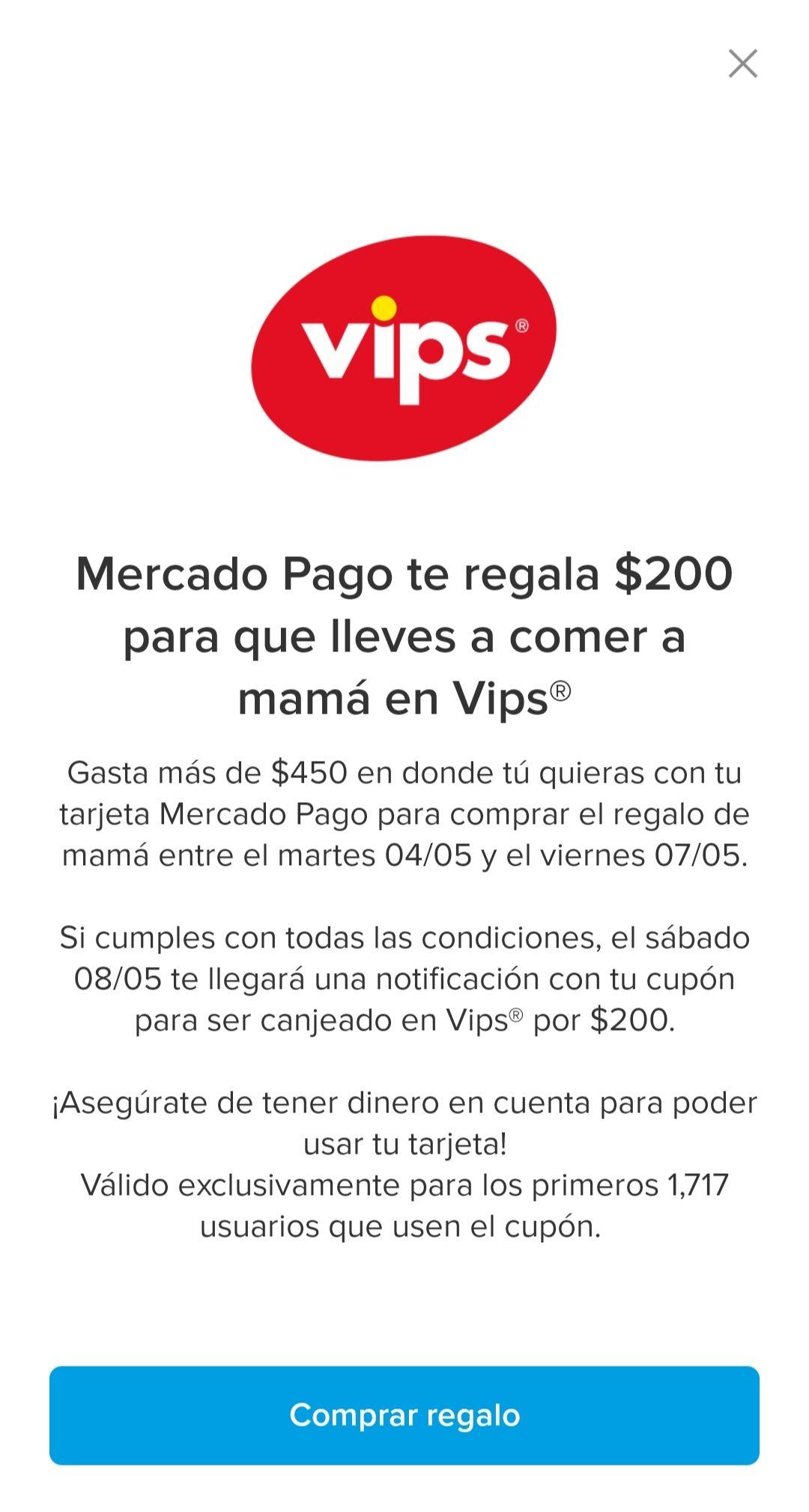 Mercado Pago: $200 para Vips Usuarios seleccionados