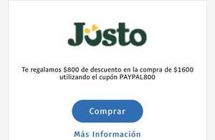 PayPal: $800 de descuento en Jüsto en compras de $1600 para cuentas nuevas