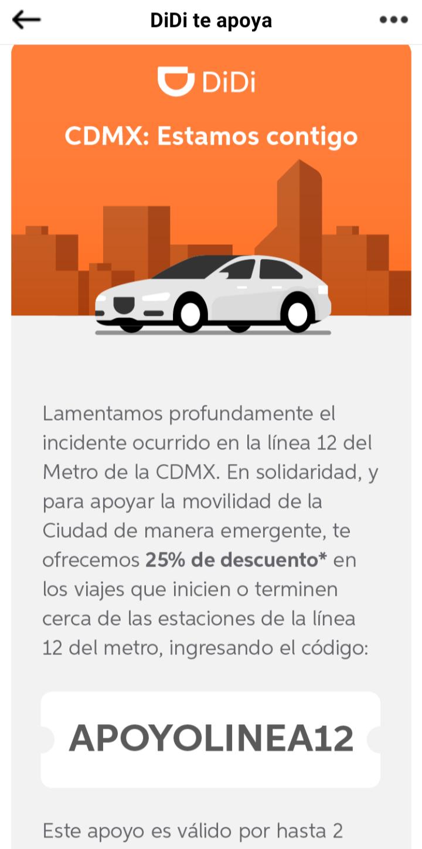 Didi: CDMX Línea 12 STC Cupón de 25% en hasta viajes de $100.00