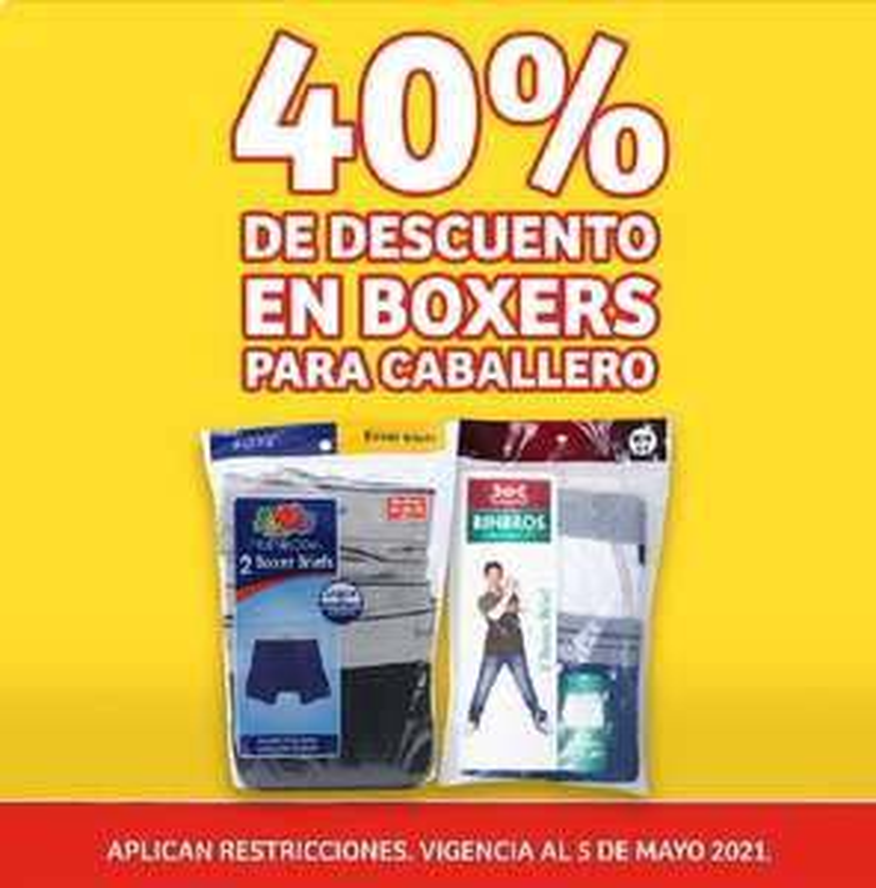 Soriana Mercado y Express: 40% de descuento en boxers para caballero