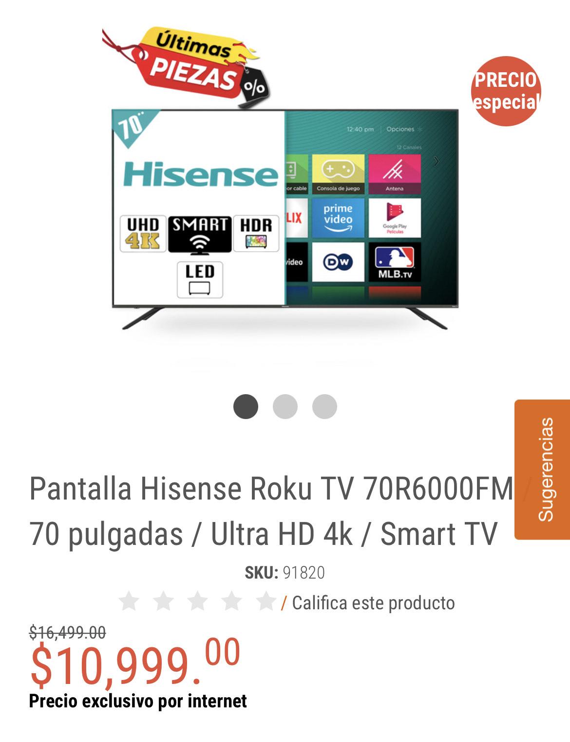RadioShack: Pantalla Hisense Roku TV 70R6000FM / 70 pulgadas