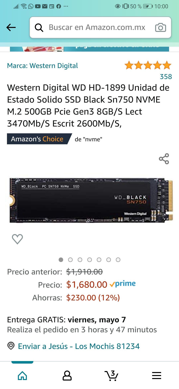 Amazon: Western Digital WD HD-1899 Unidad de Estado Solido SSD Black Sn750 NVME M.2 500GB Pcie Gen3