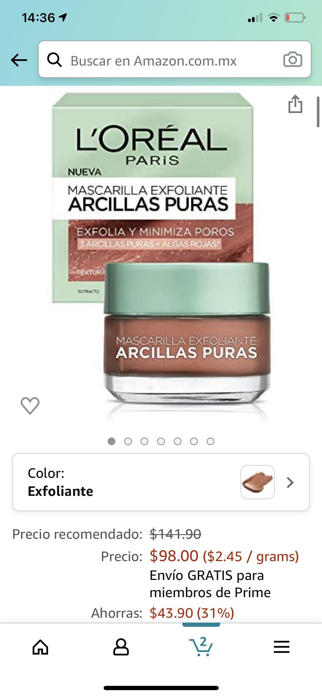 Amazon: Arcilla a L'Oréal a 98-96