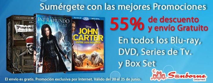 Sanborns.com.mx: 55% de descuento en películas y series y envío gratis (extendida)