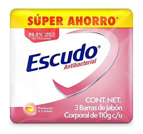 Amazon Escudo Antibacterial, Jabón de Tocador Protección con Vitamina E, 3 barras de 110gr