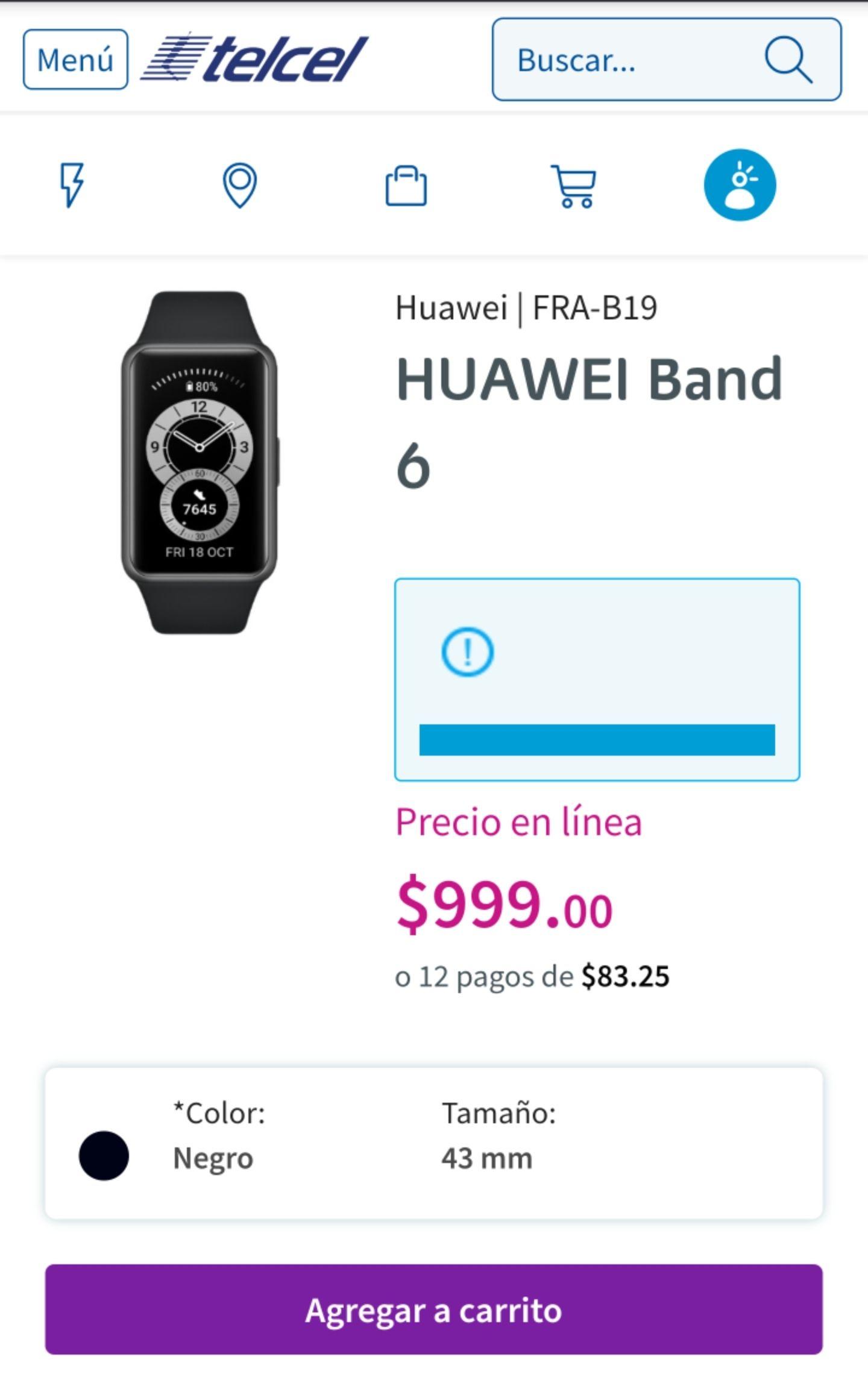 Telcel: Huawei band 6 super precio