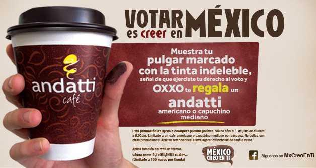 Oxxo: café americano o capuchino gratis después de votar el 1 de julio