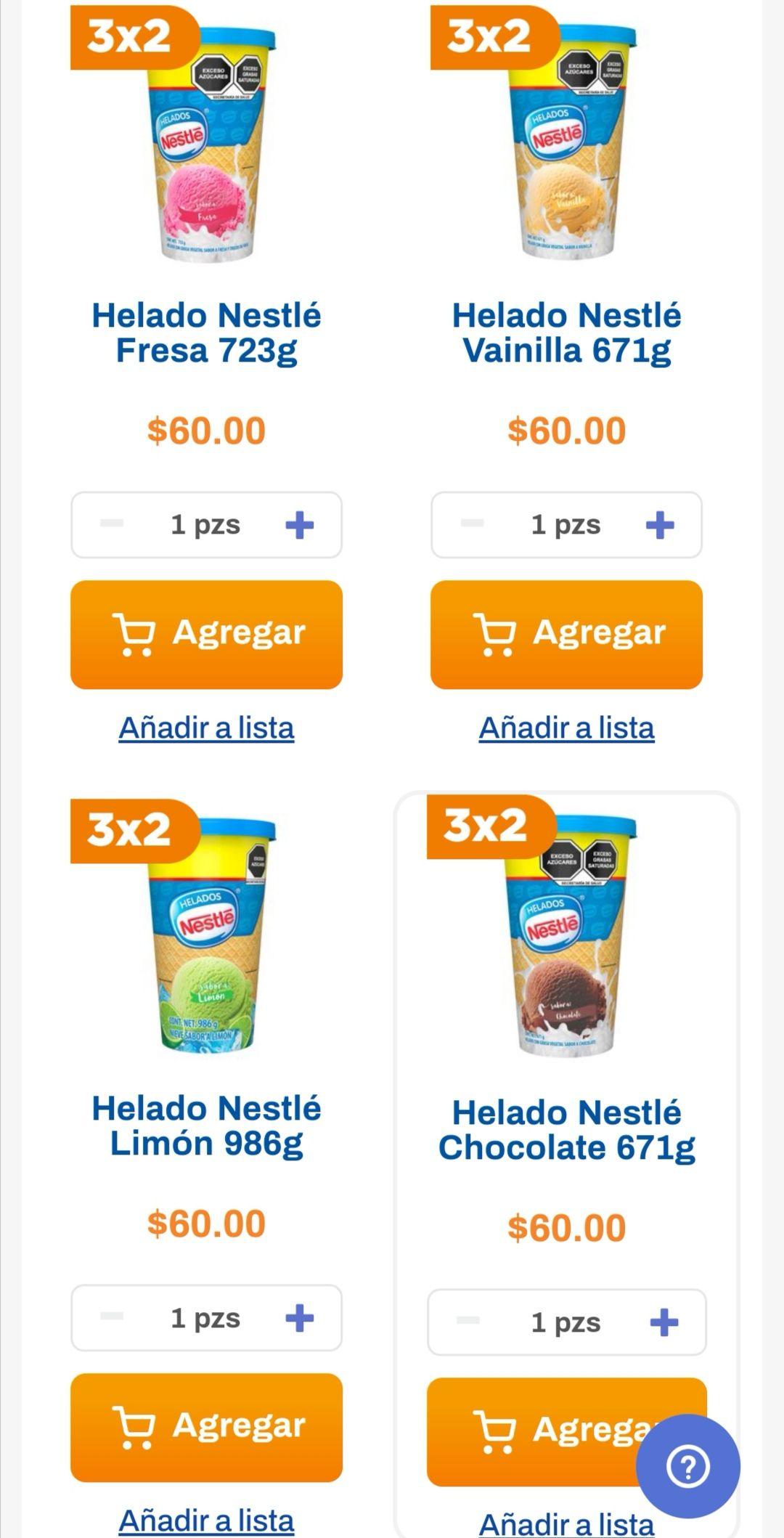 Chedraui: 3 x 2 en helados Nestlé básicos jirafas seleccionados