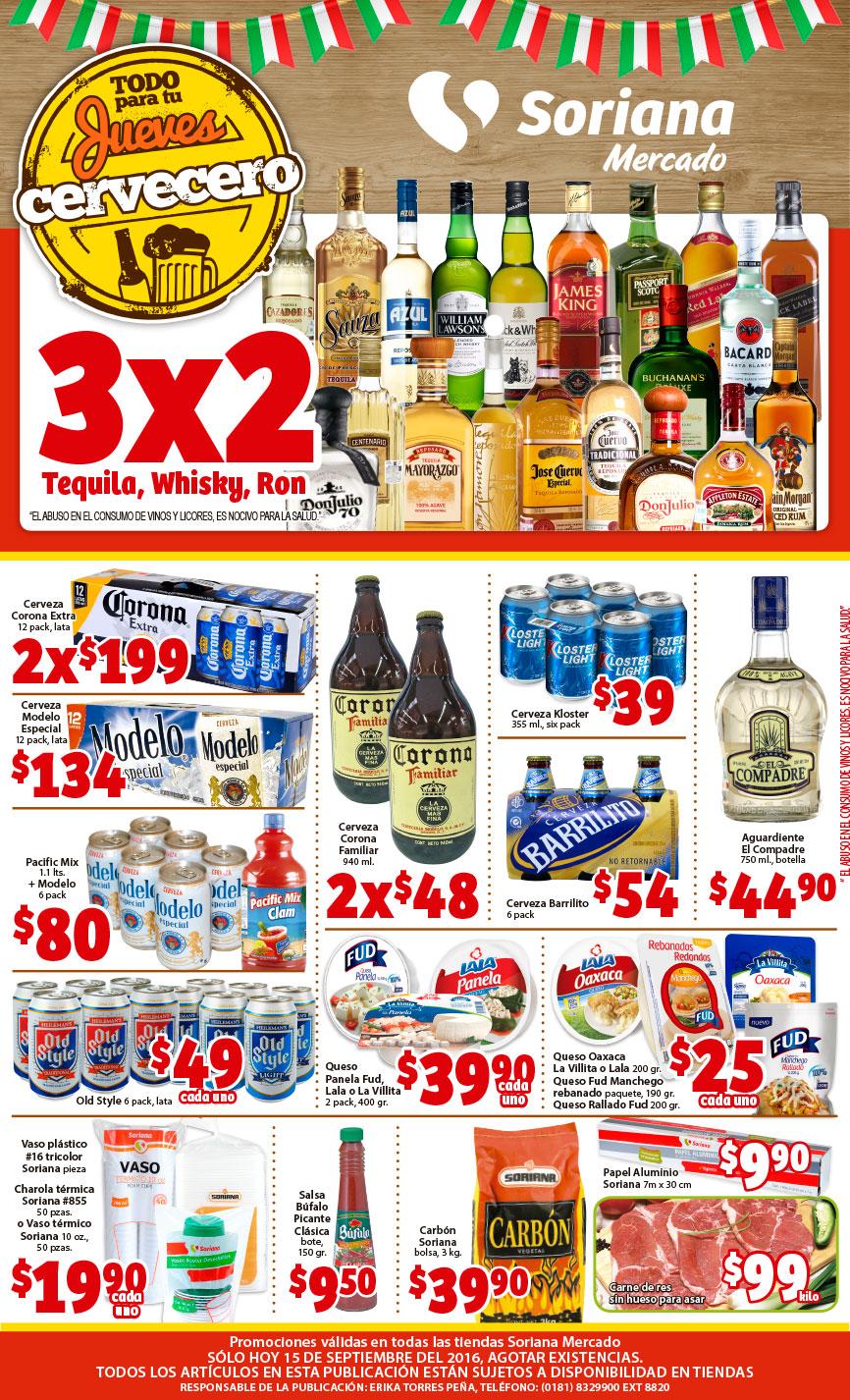 Soriana Mercado: 3x2 Tequila, Whisky y Ron