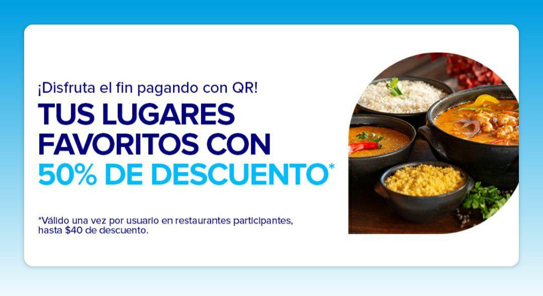 Mercado Pago QR 50% de descuento en restaurantes Sábados y Domingos de Mayo con tope de $40