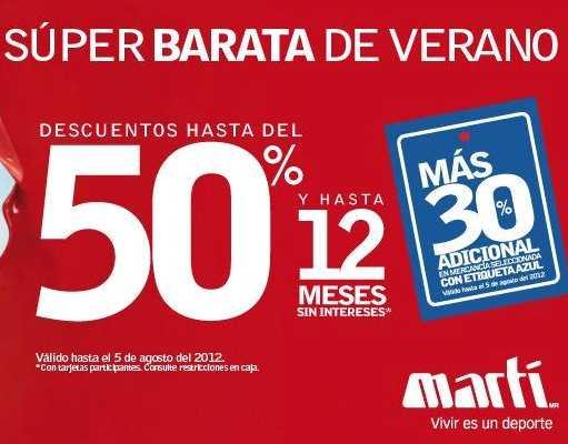 Martí: rebajas de hasta el 50% de descuento y hasta 12 MSI y 30% adicional a lo rebajado