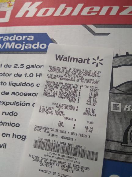 Walmart: aspiradora Koblenz  WD2.5 k a$349.02