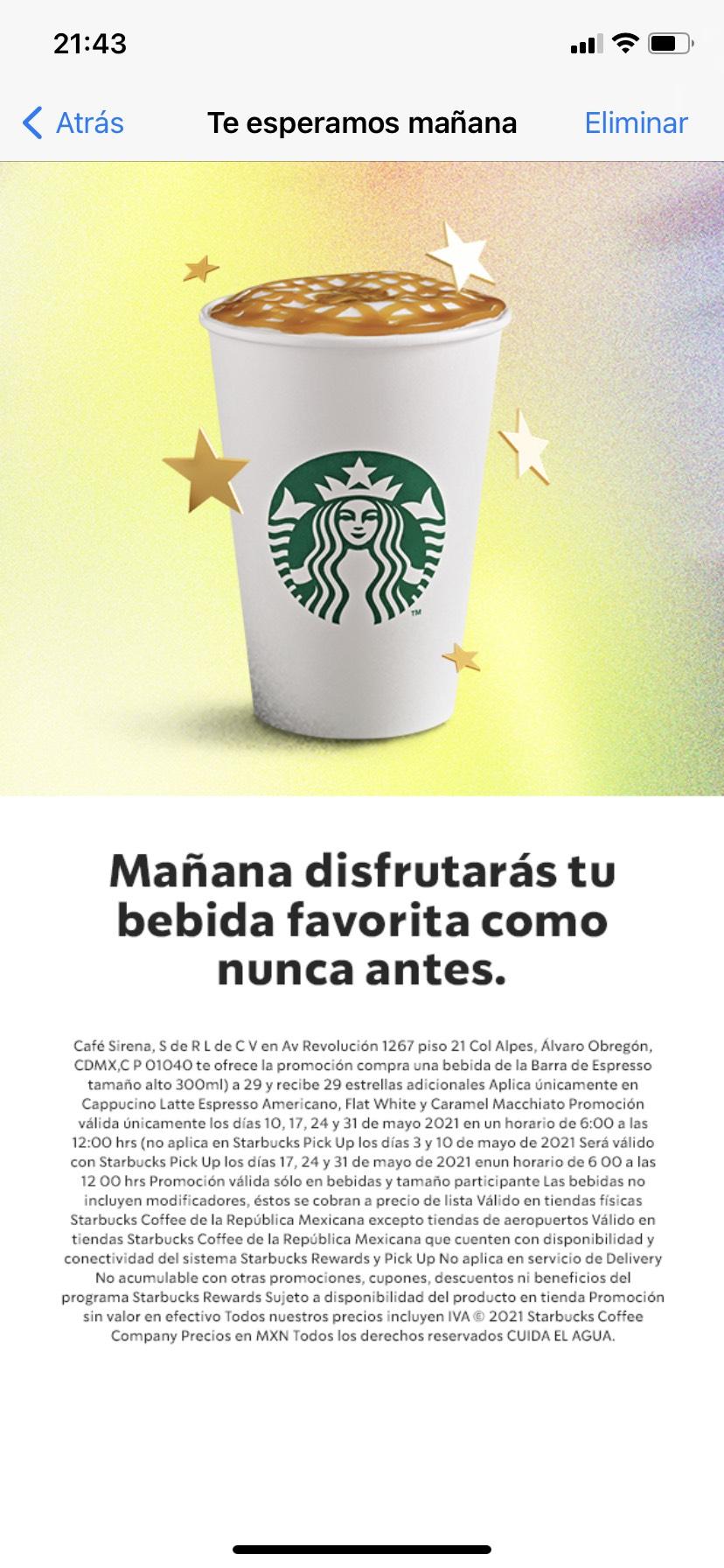 Starbucks: bebida de la barra de expreso a $29 y recibe 29 estrellas los lunes de Mayo