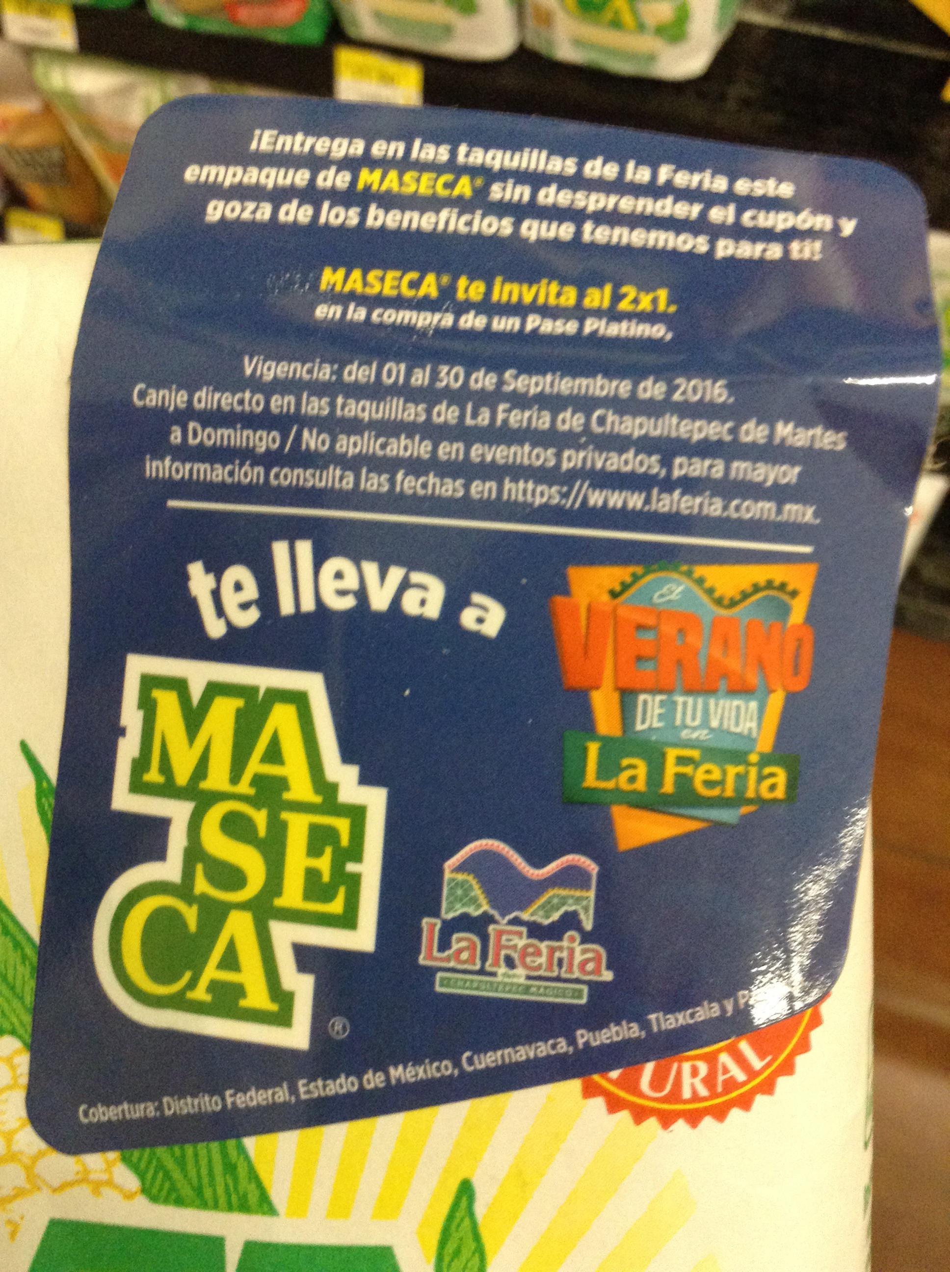 La Feria: cupón 2x1 en pase platino comprando Maseca