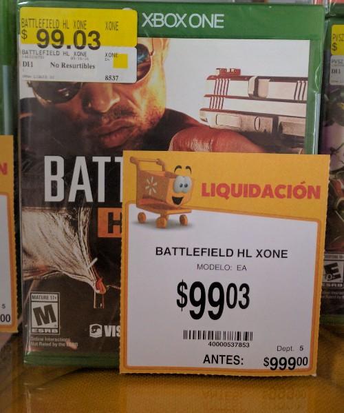 Walmart Zumpango: Battlefield Hardline Xbox One a $$99.03