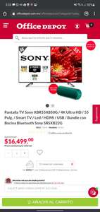 Office Depot Pantalla TV Sony XBR55X850G / 4K Ultra HD / 55 Pulg. / Smart TV / Led / HDMI / USB / Bundle con Bocina Bluetooth Sony SRSXB22G