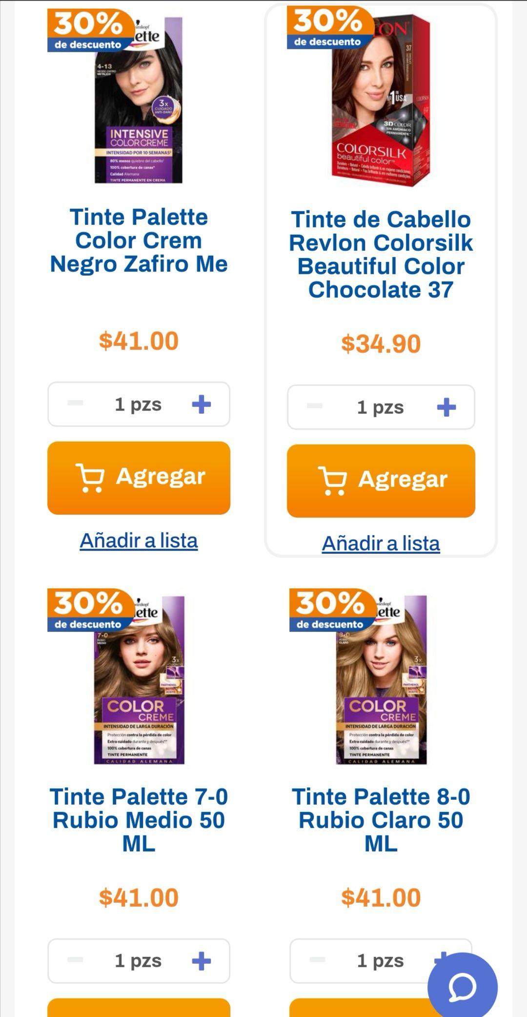Chedraui: 30% de descuento en tintes Palette, Revlon, Colorsilk y Nutrint