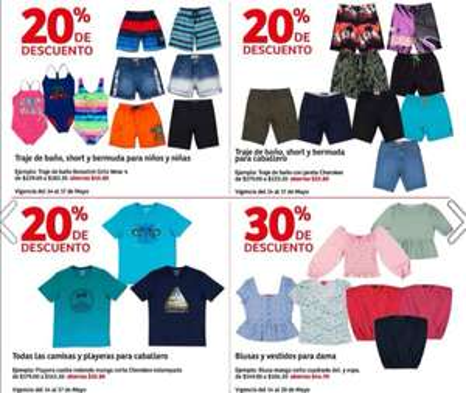 Soriana Híper: 20% de descuento en trajes de baño, shorts y bermudas para caballeros, niños y niñas, camisas y playeras para caballero