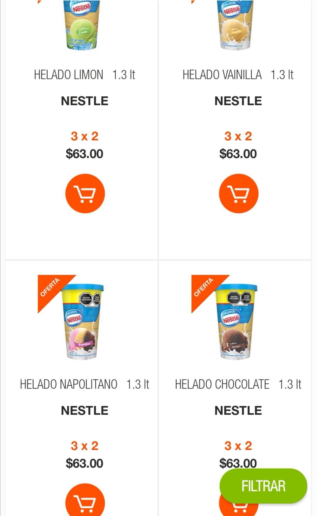 La Comer: 3 x 2 en helados Nestlé 1.3 L sabores napolitano, chocolate, vainilla, limón, fresa o grosella