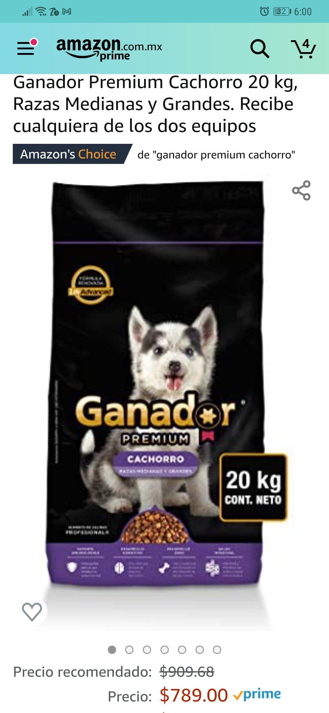 Amazon: Ganador Premium Cachorro 20 kg, Razas Medianas y Grandes.