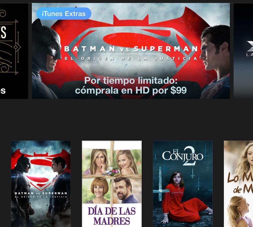iTunes: Batman v Superman a $99