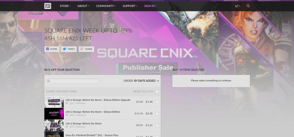 GOG: Semana de Square Enix