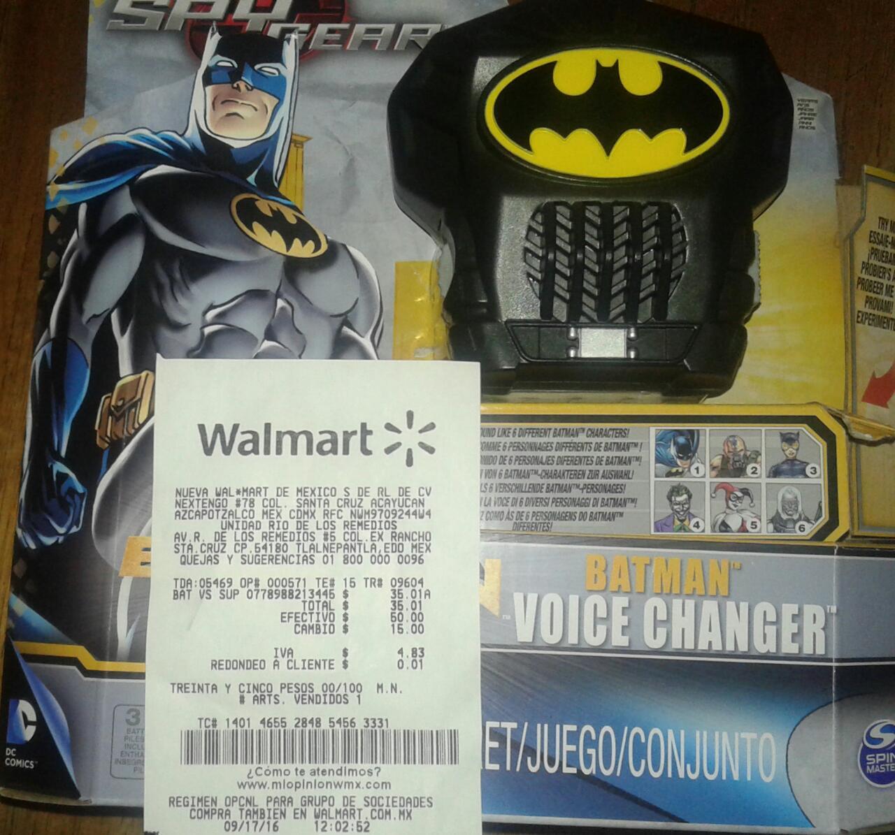 Walmart: cambiador de voz Batman 6 voces diferentes a $35.01