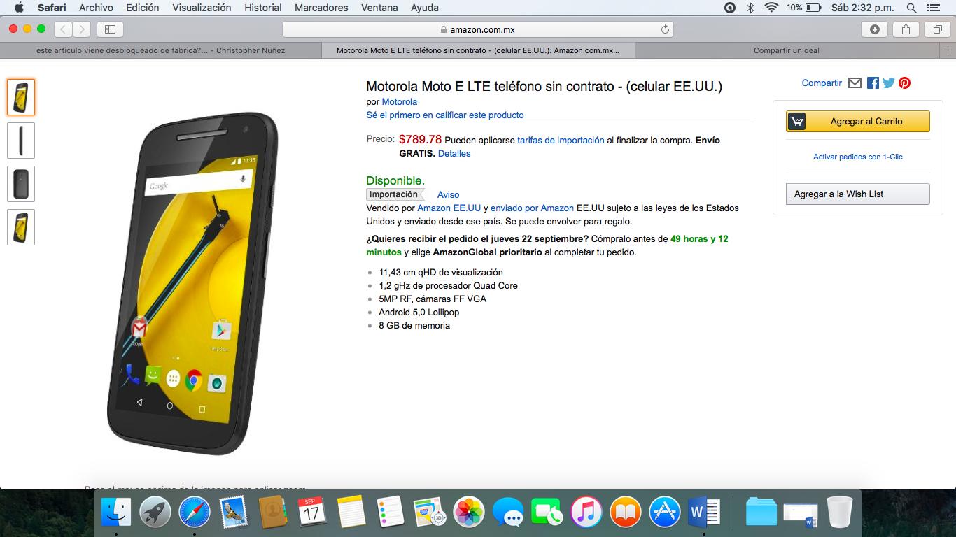 Amazon: Moto E segunda generación a $740 (Requiere desbloqueo)