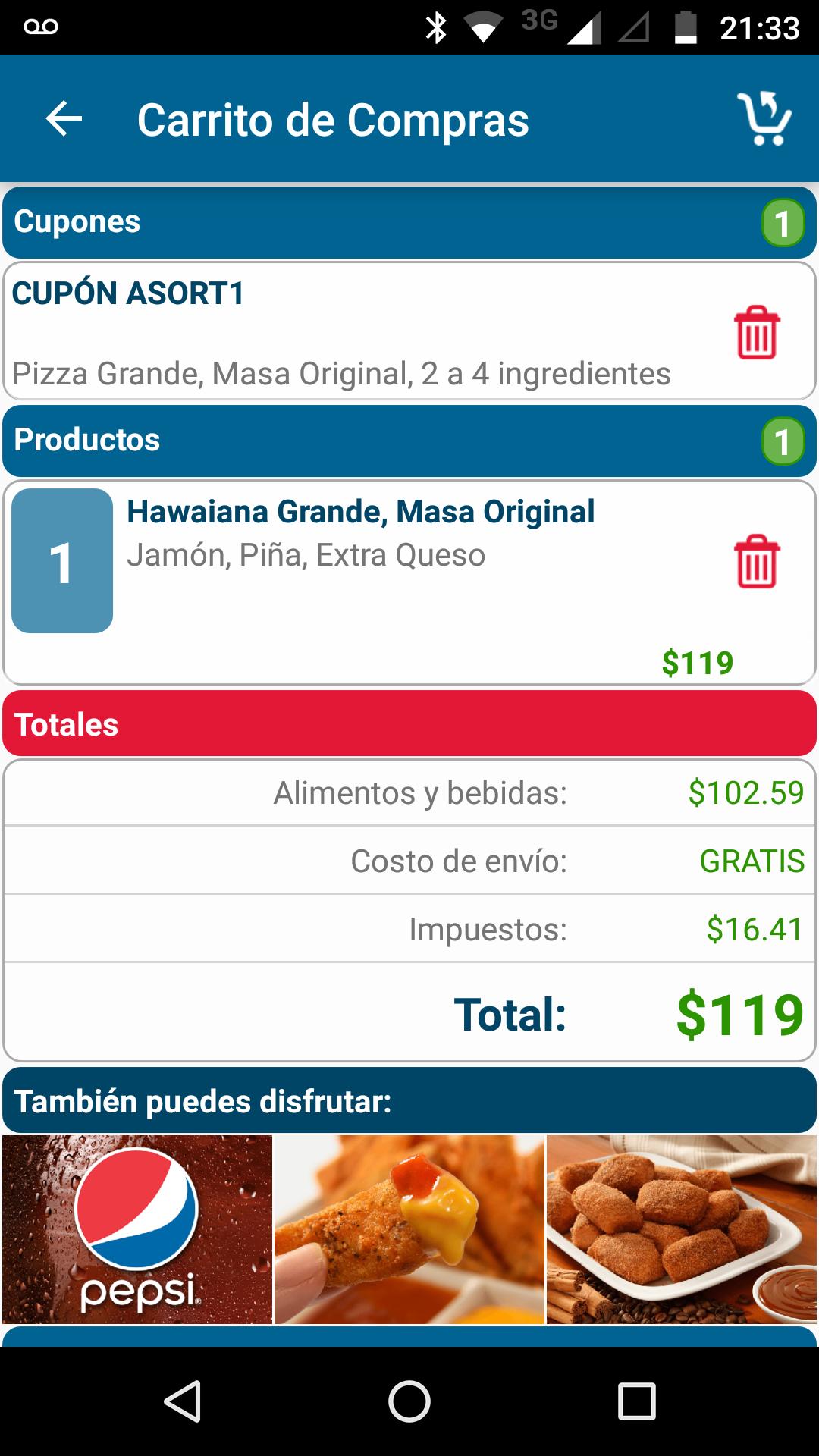Domino's pizza cupón pizza grande 2 a 4 ingredientes $119