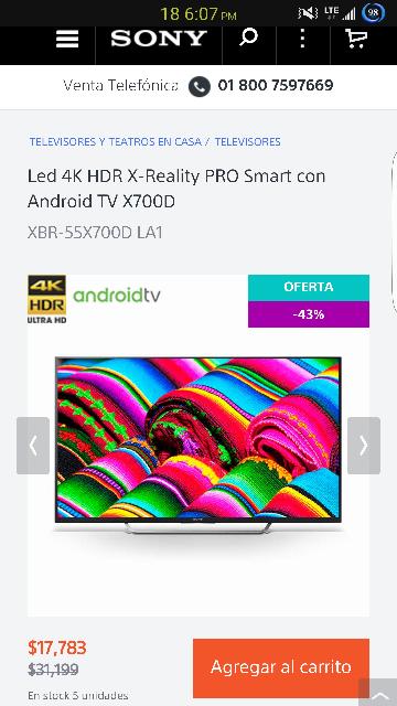Sony Store : Android TV 2016 4k 55 pulgadas
