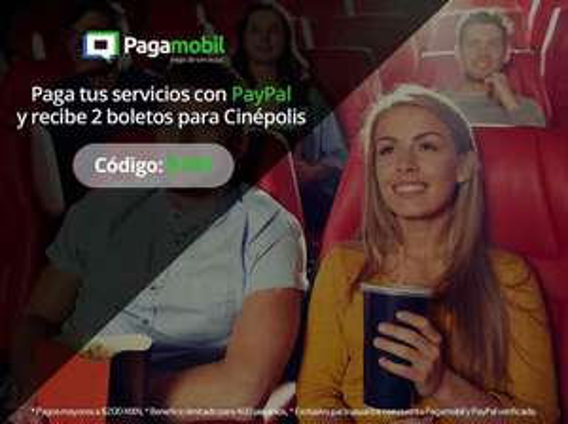 Pagamobil: 2 boletos para Cinépolis en el pago de un servicio de más de $200