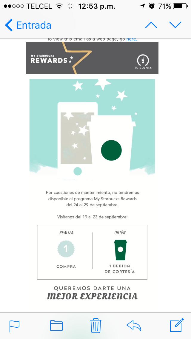 Starbucks: bebida de cortesía comprando entre 19-23 de septiembre mínimo $50