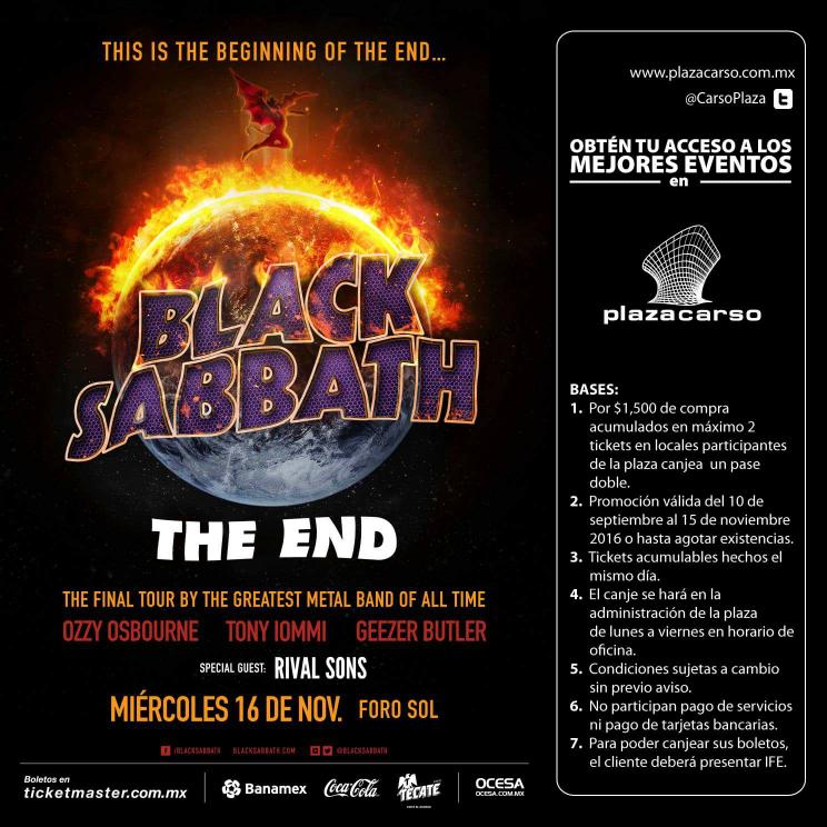 Plaza Carso CDMX: 1 pase doble para el concierto de Black Sabbath en el Foro Sol en la compra mínima de $1,500