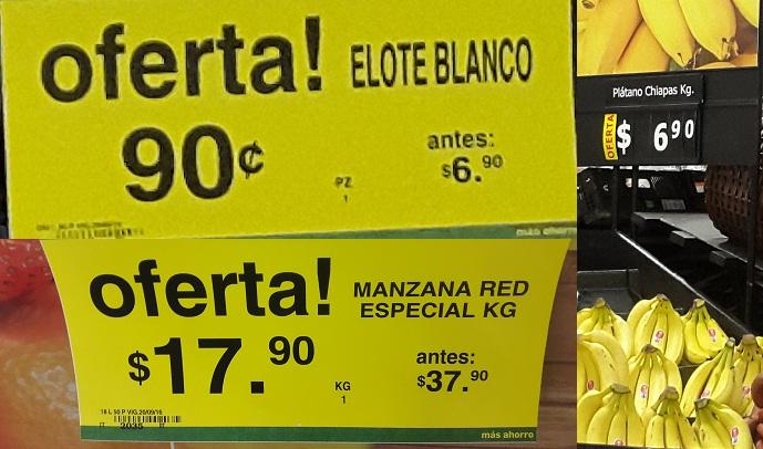 Soriana Híper y Súper: Elote Blanco $0.90 pza; Plátano Chiapas $6.90 kg; Manzana Red Delicious $17.90 kg.