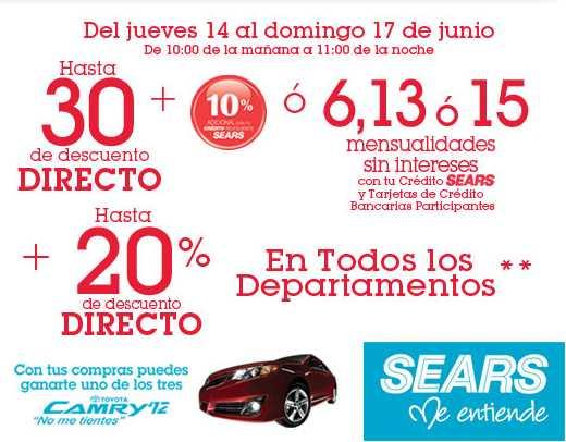 Venta especial Sears: hasta 30% de descuento o hasta 15 MSI y hasta 20% de descuento