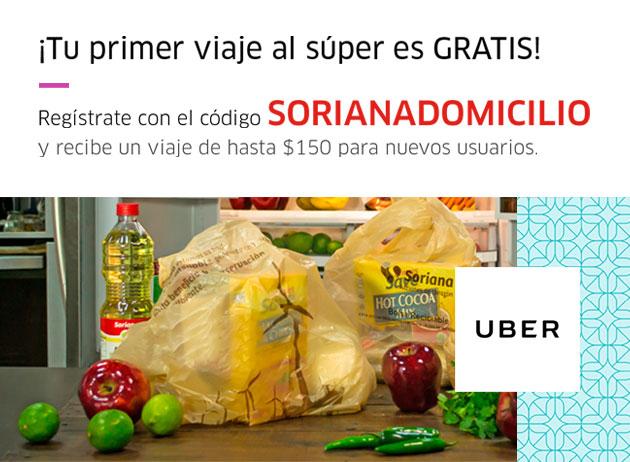 SORIANA: ¡Ve al Súper en Uber!, tu primer viaje ida o vuelta hasta $150, nuevos usuarios.