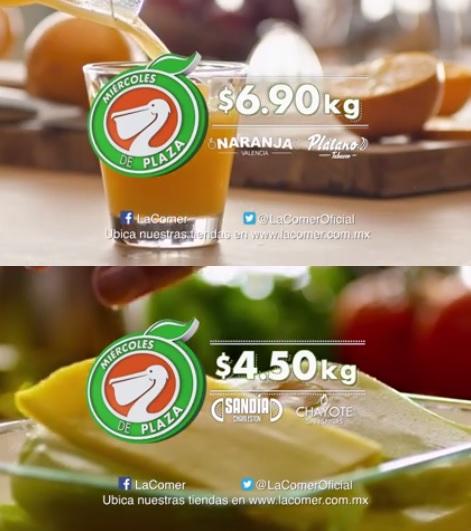 La Comer y Fresko: Miércoles de Plaza 21 Septiembre: Sandía o Chayote $4.50 kg; Naranja o Plátano $6.90 kg.