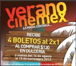 Cinemex: cupones 2x1 comprando en dulcería