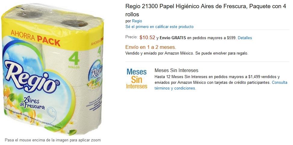 Amazon: Rollo higiénico Regio 4 rollos de 200 hojas a $10.52