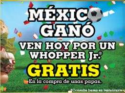 Burger King: Whopper Jr gratis en la compra de una papas (13 de junio)
