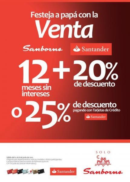 Sanborns: 20% de descuento y 12 MSI o 25% pagando con Santander