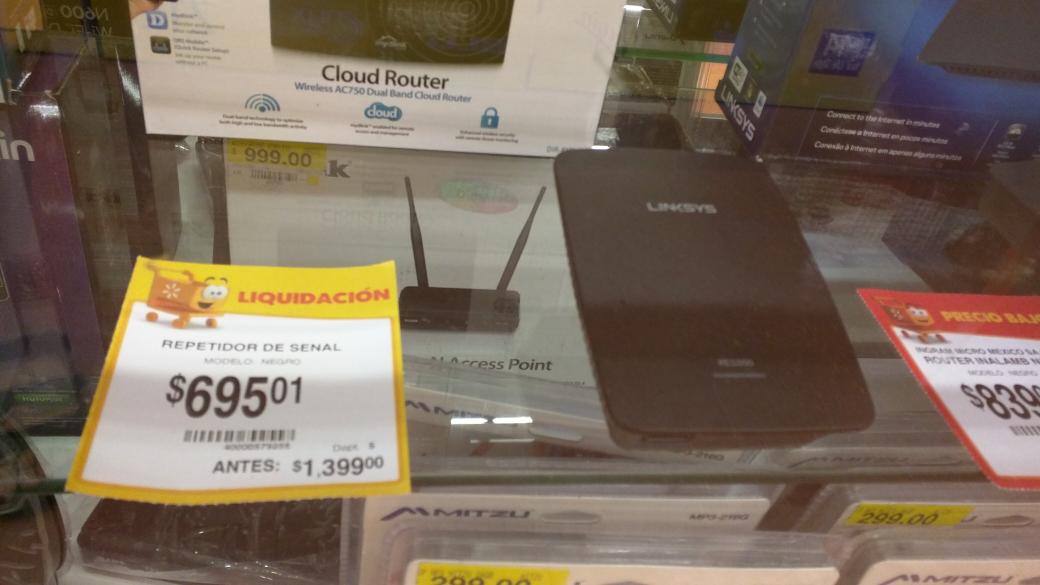 Walmart: repetidor de señal wifi Linksys de $1,399 a $695.01